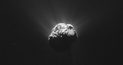 Did alien microbes carve odd features on Rosetta comet?