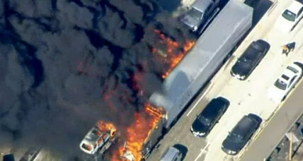 Wildfire catches drivers on California's I-15