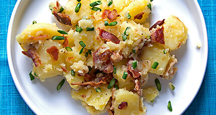 Potato salad with garlic scapes and bacon