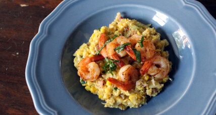Shrimp and fresh corn grits with basil