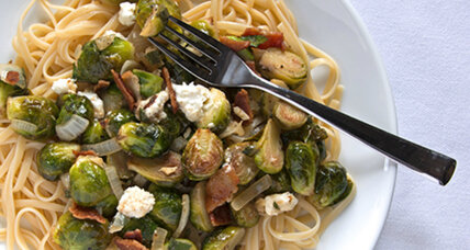 Linguine with Brussels sprouts, feta, and bacon