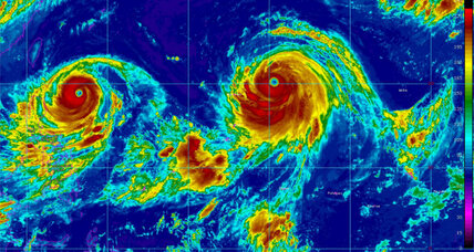 Twin typhoons spin towards Taiwan and Japan