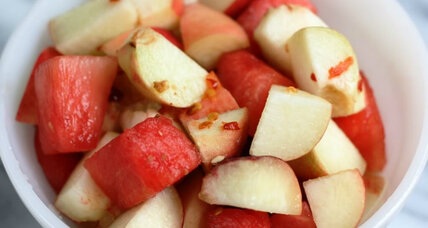 Tart peach and watermelon salad