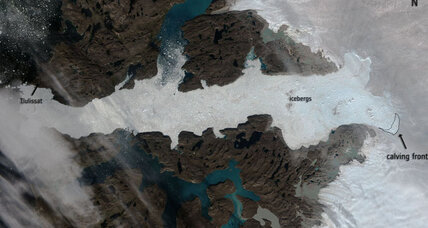 This massive glacier calf can be seen from space