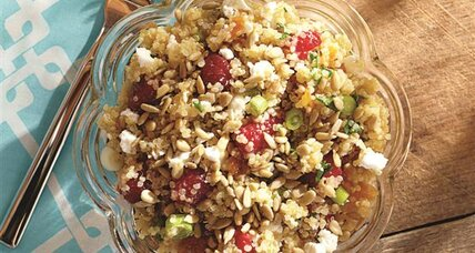 Quinoa salad with raspberries and feta cheese