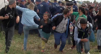 Hungarian journalist fired for kicking and tripping refugees