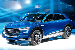 New Audi E Tron Quattro Is Presented At The Frankfurt Auto Show (IAA)  September 15, 2015. Large Automakers Are Entering The Electric Car Market,  ...