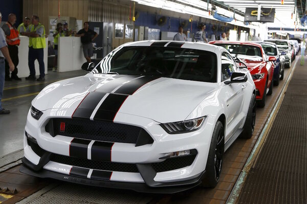 A Ford  Shelby Gtr Mustang Vehicle Sits On The Final Production Line At The Ford Motor Flat Rock Assembly Plant In Flat Rock Mic The Shelby Gt Is