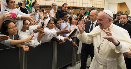 Setting example for Catholics, Pope Francis takes in refugee family