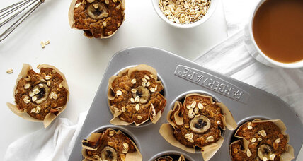 Whole wheat banana oatmeal muffins