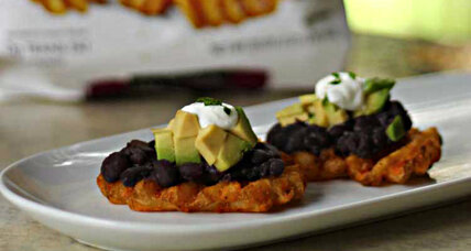 Black bean avocado topping for sweet potato waffle fries