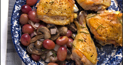 Roasted chicken with grapes, mushrooms, and shallots