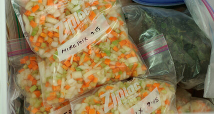 Making mirepoix for homemade soup