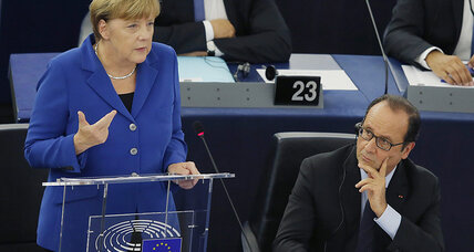 Hollande, Merkel call for 'more Europe' to fight crises afflicting EU