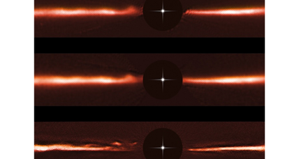 Astronomers spot bizarre, fast-moving ripples in dust around star