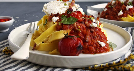 Tomato and bacon pasta with ricotta