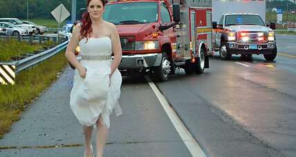 Forget the dress: Bride stops to help on the way to her reception