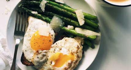 Simple asparagus and eggs on toast breakfast
