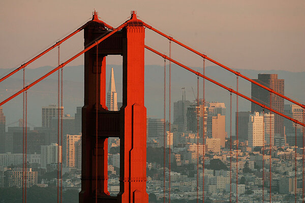 the skyline of san francisco california is framed by the north tower of the golden gate bridge at sunset in this 2008 file photo airbnb insane sf