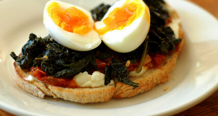 Savory toast: braised kale, roasted tomatoes, and soft-boiled eggs