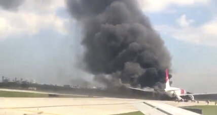 Passenger jet engine catches fire prior to takeoff at Florida airport