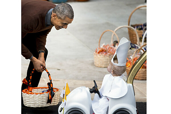 Baby in Popemobile takes honors at White House Halloween party ...