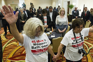 Rita Palomarez, Left, And Linda Rodriguez Pray During An Election Watch  Party Attended By Opponents Of The Houston Equal Rights Ordinance On  Tuesday, Nov.