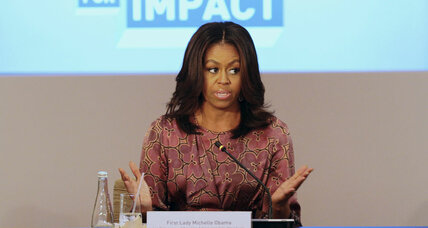 What is Michelle Obama asking Arab men to do?