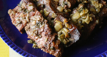 Layered pot roast with anchovies, capers, and garlic