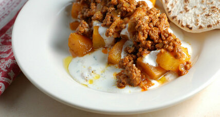 Baked pumpkin with minted yogurt and spiced beef