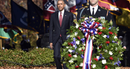 Obama visits Arlington National Cemetery. What did he say about US veterans?