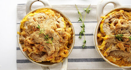 Smokey delicata baked macaroni and cheese