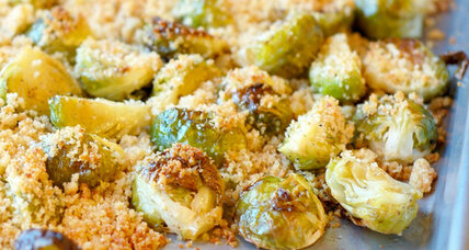 Thanksgiving side: Roasted Brussels sprouts with garlic, Parmesan, buttered breadcrumb topping
