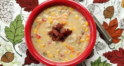 Thanksgiving leftovers: Turkey, sweet potato, and corn chowder