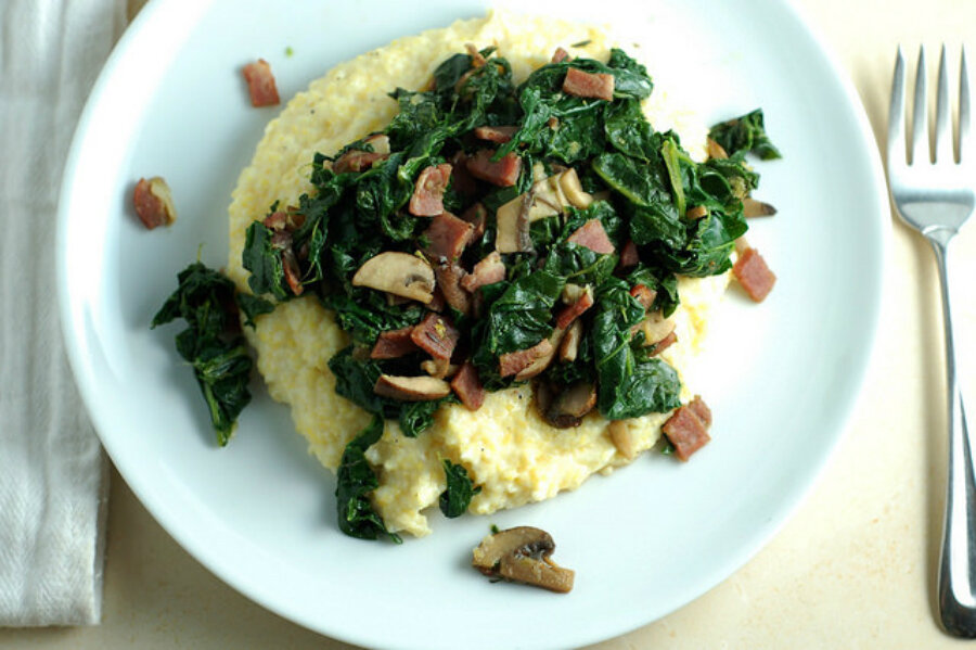 Creamy polenta with kale and mushrooms - CSMonitor.com