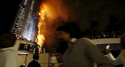 Flames engulf Dubai skyscraper near world's tallest building