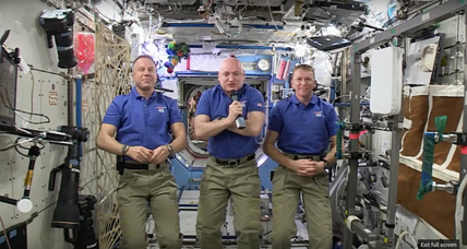 Space station astronauts send New Year's greeting