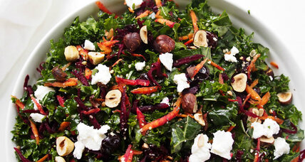 Kale salad with goat cheese and hazelnuts