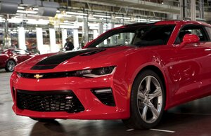 A New 2016 Chevrolet Camaro Vehicle Sits On The End Of The Assembly Line  During A Celebration Of The Start Of Shipping The New Vehicles To Dealers  From The ...