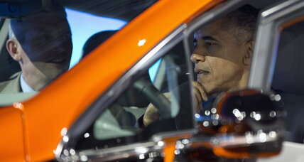 Obama visits Detroit auto show, checks out Chevy Bolt EV electric car