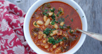 Swiss chard, white bean, and sausage soup