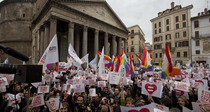 Italians rally for gay civil unions ahead of battle in parliament