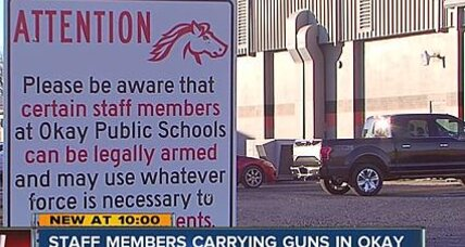Rural Oklahoma school posts warning of armed staff
