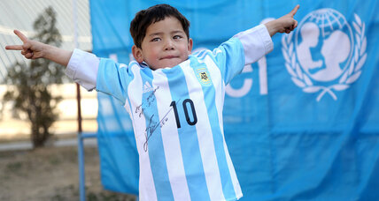 Afghan child gets a Lionel Messi jersey: How sports build bridges