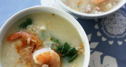 Rice soup with pork and shrimp