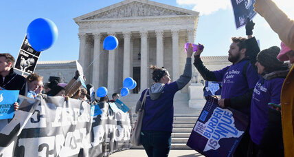 In watershed abortion case, view from the Supreme Court stairs (+video)