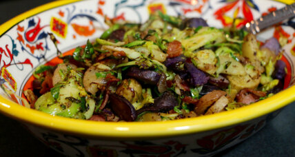 Shaved Brussel sprouts, bacon, and potato hash
