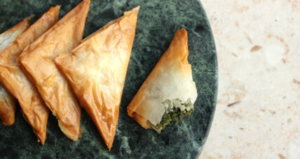 Spanakotiropitakia: spinach and feta phyllo triangle appetizers
