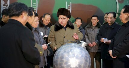 Kim Jong-un poses next to possible mini nuclear warhead