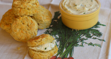 Carrot dill biscuits with cream cheese butter
